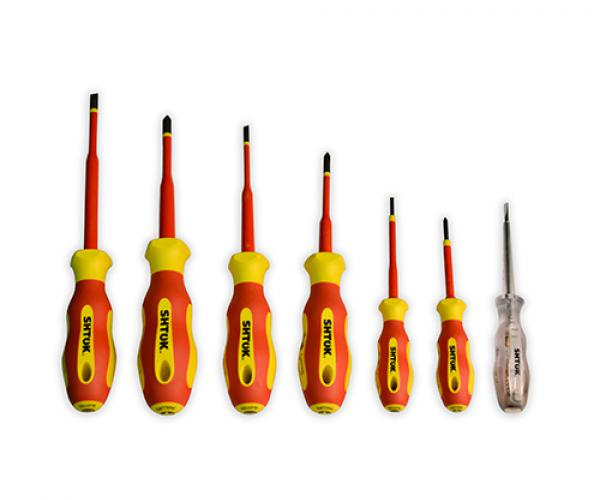 Set of dielectric screwdrivers PH 0, PH 1, PH 2, SL 2.5, SL 4.0, SL 5.5 + tester